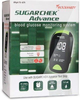 SUGARCHEK ADVANCE with 50 Strips Glucometer(Black)