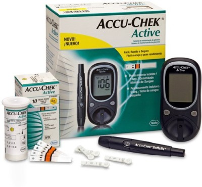Accu-Chek Active Glucose Monitor with 10 Strips Glucometer(Black)  available at flipkart for Rs.1385