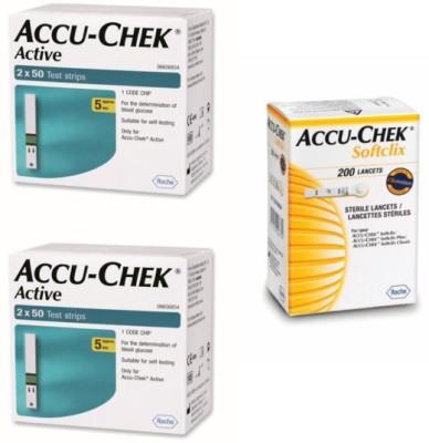 ACCU-CHEK Active 200 Strips & 200 Soft Clix Lancets Glucometer(Green)