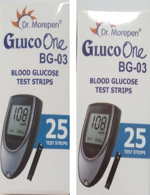 Dr. Morepen Gluco One Monitoring System 25 Test Strips(Pack of 2) Glucometer(Blue)  available at flipkart for Rs.690
