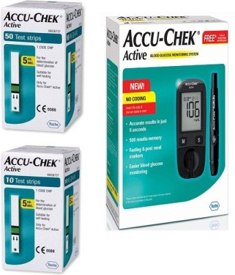 ACCU-CHEK Active Glucose Monitor with 50 Strips Glucometer(Black)
