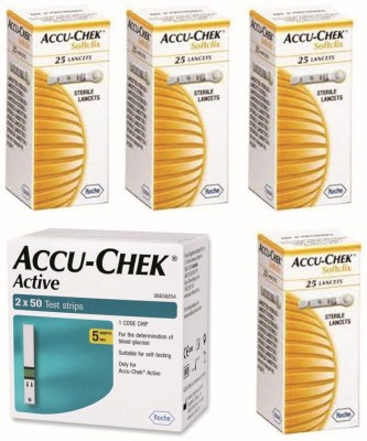 ACCU-CHEK Active 100 Strips & 4 Packs of 25 Lancets Glucometer(Green)
