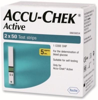 ACCU-CHEK 100 Test Strips Glucometer(Bluish-Green)