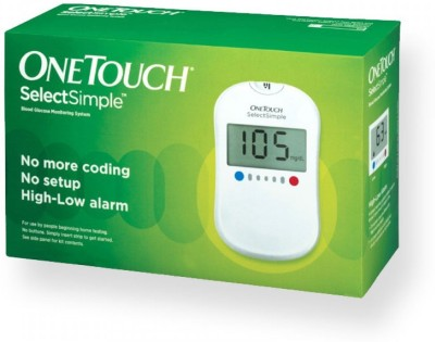 Johnson & Johnson One Touch Select Simple Glucose Monitor with 25 Strips Glucometer(White)