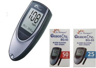 Dr. Morepen BG-03 with 25 + 50 Strips Combo Glucometer(Black, Silver)  available at flipkart for Rs.1178