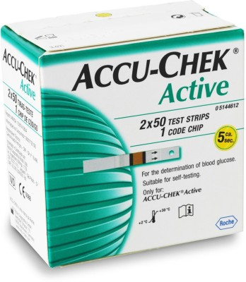Roche Accu-Chek Active Test Strips - 100 Glucometer(Green, White)
