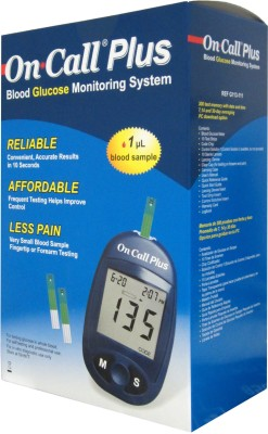 On Call Plus Plus Glucometer with 10 Strips Glucometer(Blue)