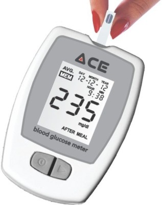 Ace Glucometer Kit with 10 Blood Glucose Test Strips Glucometer(White)