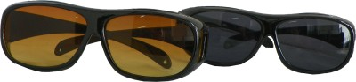 Wonder World ™ HD Night Vision Wraparounds Polarized Eyeglasses Motorcycle Goggles(Brown, Black)