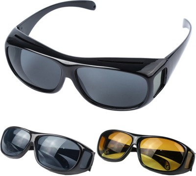 VibeX GLASSES OPTIC HD NIGHT DAY VISION DRIVING WRAP AROUND ANTI GLARE SUN Motorcycle Goggles  available at flipkart for Rs.1099