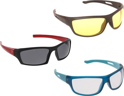 Vast New Day & Night Vision Driving Plus Summer Special (Yellow,White,Grey) COMBO 2 Cycling Goggles