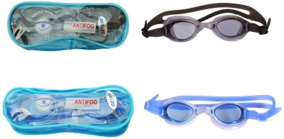 Gee Power Imported Set of 2 Swimming Goggles Blue, Black
