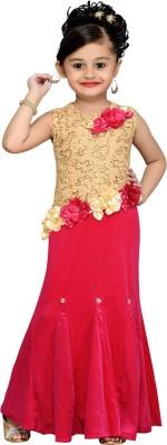 Aarika Girls Maxi/Full Length Party Dress(Gold, Sleeveless) at flipkart