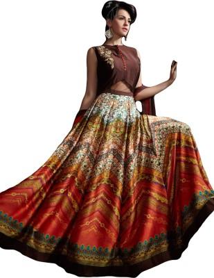 Sitaram Creation Cotton Linen Blend Embellished, Printed Semi-stitched Lehenga Kurta Material