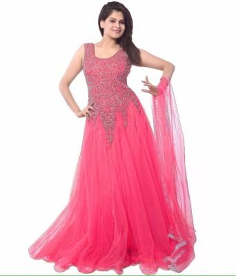 CHUNARLIFESTYLE Anarkali Gown(Pink)