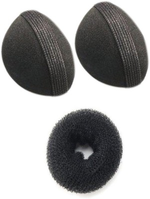 Pankh Puff and Donut Bun Maker Hair Accessory Set(Black)  available at flipkart for Rs.110