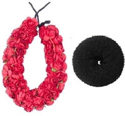 Majik Beautiful Red Artifical Gajra with Bun Donut Hair Accessory Set(Multicolor)