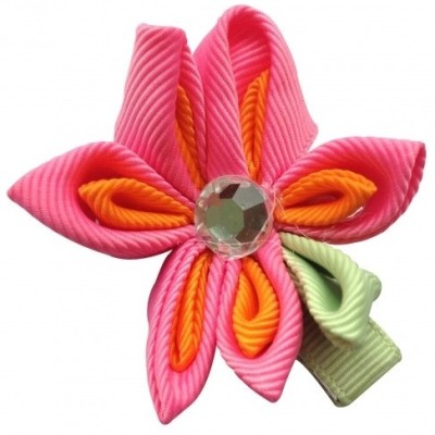 NeedyBee Flower Hair Clip(Pink, Orange, Green)