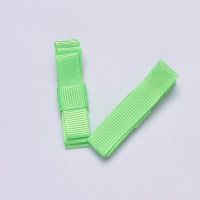 NeedyBee Neon Double Deck Bow - Pack of 2 Hair Clip(Green)