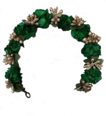 Kabello Braidal Accessories White Flower 3D Gajra Green Hair Band(Green)