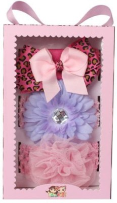 Babies Bloom Multicolored Ribbon Bow Baby Flower Headband Hair Accessory Set(Multicolor)