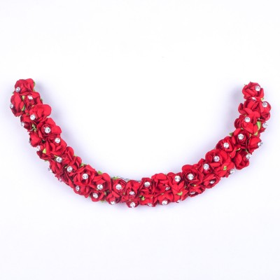 Kabello Gajra Veni Hair Garland Artificial Flowers Hair Band(Red)