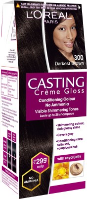 L'oreal Paris Casting Creme Gloss Hair Color - Darkest Brown 300, 21gm + 24ml