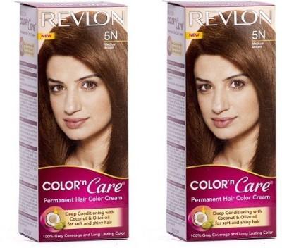 Revlon Color N Care Permanent Cream Medium Brown 5n - Pack Of 2 Hair Color(Medium Brown)