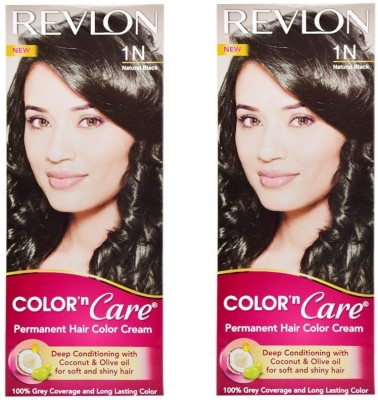 Revlon Color N Care Permanent Hair Color Cream - Natural Black 1N - Pack of 2 Hair Color(Natural Black)
