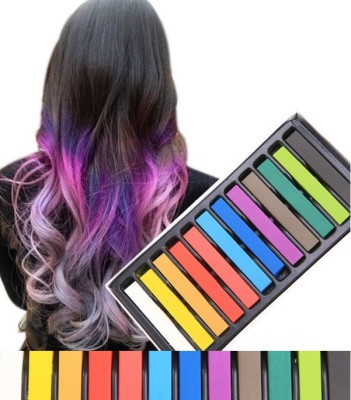 Looks United 12 Colors Non-toxic Temporary Square Hair Dye Washable Color Chalk  Hair Color(Multi)  available at flipkart for Rs.449