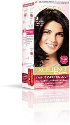 L'Oreal Paris Excellence Creme Hair Color - Natural Darkest Brown 3, 24ml + 26gms
