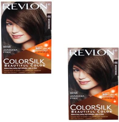 Revlon 3D Color Silk pack of 2 Hair Color(Medium Brown 4N)