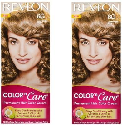 Revlon Color N Care Permanent Hair Color Cream - Light Golden Brown 6G - Pack of 2 Hair Color(Light Golden Brown)