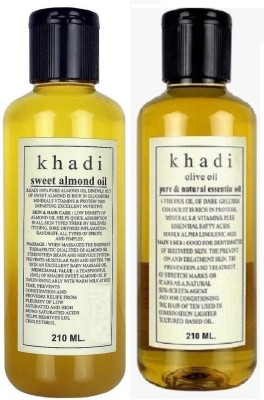 Khadi Pure SWEET ALMOND OIL & OLIVE ESSENTIAL OIL Hair Oil(420 ml) at flipkart