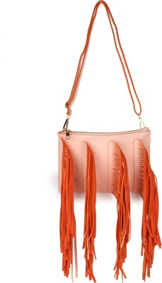 Amatra Women Casual, Evening/Party, Formal Orange, Pink Leatherette Sling Bag