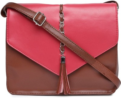 Dressberry Women Brown, Pink Sling Bag at flipkart