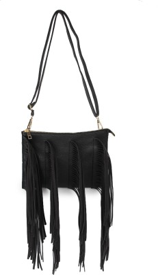 Amatra Girls Evening/Party, Casual, Formal Black Leatherette Sling Bag