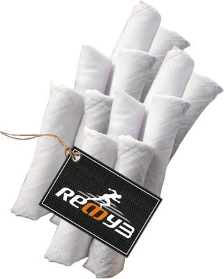 Readybee Extra Premium Exquisite Pure White Stripe Handkerchief(Pack of 12)