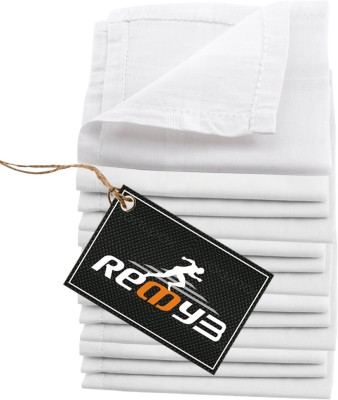 Readybee Extra Premium Exquisite Pure White Handkerchief(Pack of 12)