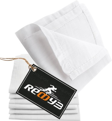 Readybee Extra Premium Exquisite Pure White Handkerchief(Pack of 7)