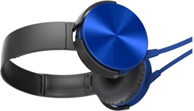 A Connect Z MDR-XB450-Stylish good Sound Hdst-318 Wired Headset with Mic(Blue, Over the Ear) 1