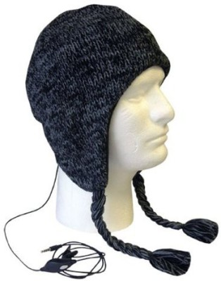Boss Tech Products, Inc. Btp-Hat-Blkgry Aviator Style Knit Hat With Earflaps And Built-In Stereo Headset - Retail Packaging - /Gray Wired Headset without Mic(Black, On the Ear)
