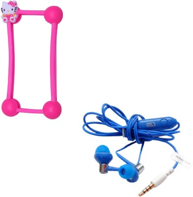 GND HF-BS-PL + CT-B5 Bumper Case for All Mobile Phones and Headphone(Pink, Purple, In the Ear)