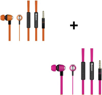 Candytech HF-S-30-VC-ORANGE + HF-S-30-VC-PINK Wired Headset without Mic(Pink, Orange, Wired in the ear)