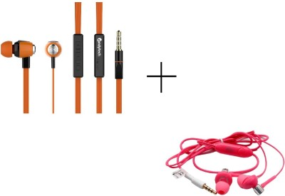Candytech HF-S-30-VC-OG+HF-BS-PK Wired Headset without Mic(Pink, Orange, Wired in the ear)