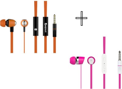Candytech HF-S-30-OG+HF-S-20-PK Wired Headset without Mic(Pink, Orange, Wired in the ear)