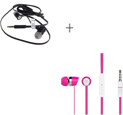 Candytech HF-S-20-PK+HF-UN-BK Wired Headset without Mic(Pink, Black, Wired in the ear)