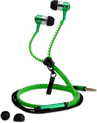 CREATION4U Zipper Z952 Stereo Dynamic Tangle Free Handfree Wired Headset with Mic(Green, In the Ear)