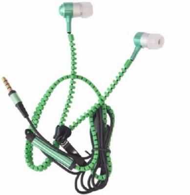Suroskie high quality zipper earphone Headphone(Green, In the Ear)