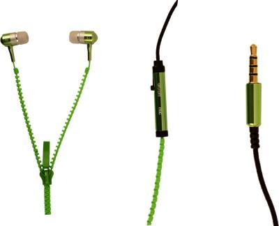 Amaze US ZipperD-04-Green Headphone(Green, In the Ear)